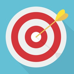 Target with arrow. Market goal flat icon. Targeting marketing, audience, group, consumer, strategy concept. Bullseye or goal Isolated sign. Winner achievement, accuracy idea.
