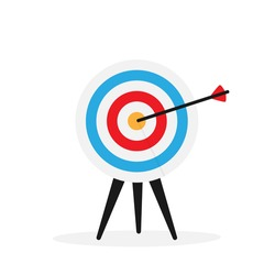Target with arrow over white vector