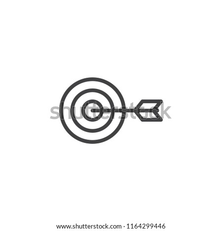 Target with dart outline icon. linear style sign for mobile concept and web design. Dartboard and goal simple line vector icon. Symbol, logo illustration. Pixel perfect vector graphics