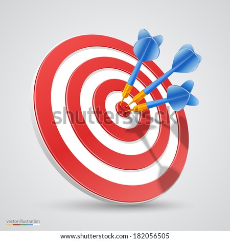 Target with darts, Target 3d icon, Vector illustration ストックフォト ©