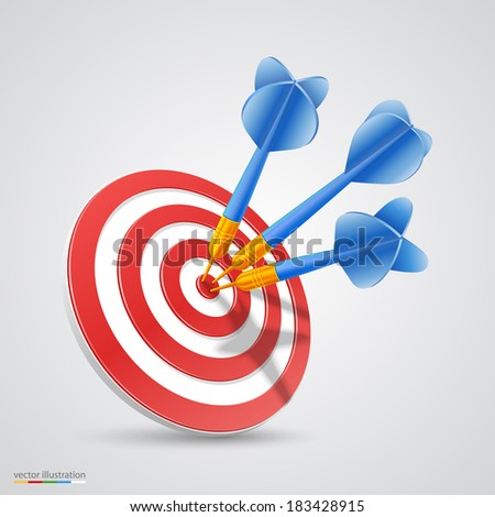 Target with darts. Vector