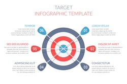Target with six arrows with numbers and text, infographic template, vector eps10 illustration