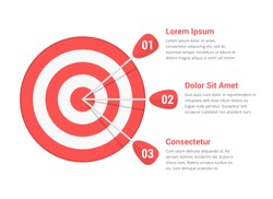 Target with three arrows, three steps or options infographics, vector eps10 illustration