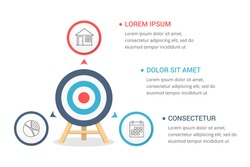 Target with three elements for your text, three steps to your goal, infographic template for web, business, presentations, vector eps10 illustration