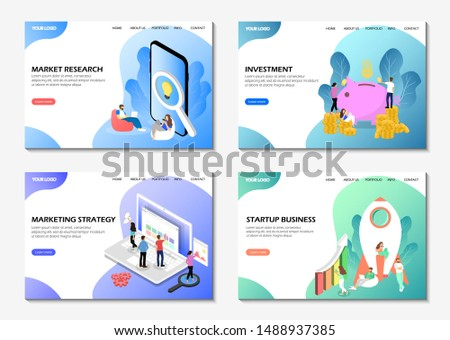 Targeted business pages. Market research, investment, marketing strategy, startup business. A set of web pages. Modern web pages for websites.