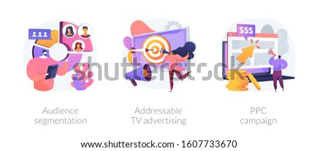 Targeted promotion, SEO, digital marketing. Geotargeting, CPC advertisement. Audience segmentation, addressable tv advertising, ppc campaign metaphors. Vector isolated concept metaphor illustrations.