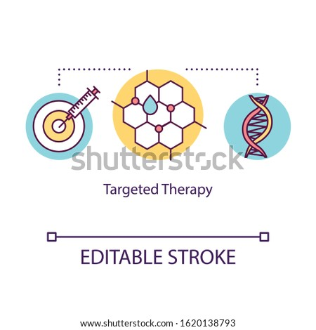 Targeted therapy concept icon. Cancer treatment idea thin line illustration. Immunotherapy. Medical help. Drug oncology treatment. Medications. Vector isolated RGB color drawing. Editable stroke ストックフォト ©