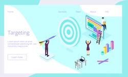 Targeting business isometric concept vector for landing page, website, app. Tiny people run ads on social networks, Internet, work in SMM, seo development, digital marketing, attract target audience.