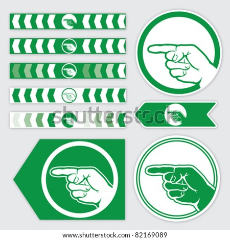 targeting ribbon, flag, sticker and arrow with palm sign in green. vector illustration