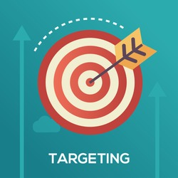 Targeting single isolated modern vector line design icon with dartboard and dart in bullseye