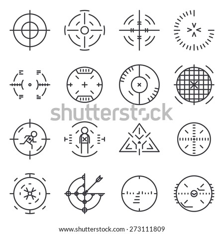 Targets collection. Circle aim, vector icon, cross and sniper, goal and success ストックフォト ©