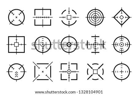Targets destination. Aim sniper shoot focus cursor bullseye mark targeting aiming sight center game dot pointer set, vector clipart