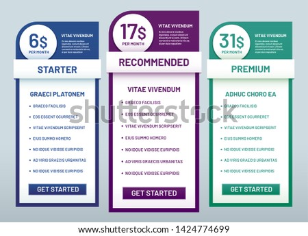 Tariff plans comparison. Recommended tariffs, price list banners and prices plan template. Website business infographics, pricing graphic or comparative columns vector illustration set