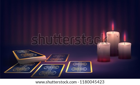 tarot and candle on the fortune