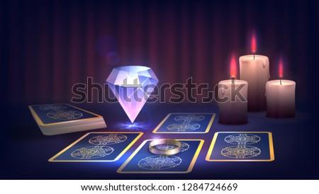 tarot  candle  ring and magic