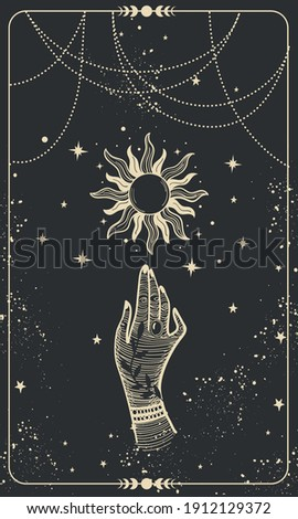 Tarot card with hand and sun. Magical boho design with stars, engraving stylization, witch cover in vintage design. Golden mystical hand drawing on black background
