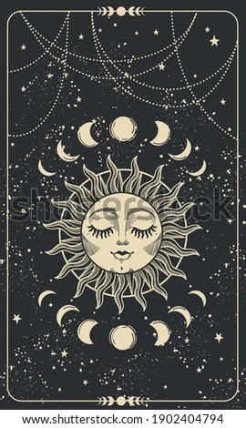 Tarot card with sun with face, moon phases and stars. Magic card, bohemian design, tattoo, engraving, witch cover. Golden mystical hand drawing on a black background. Stock photo ©