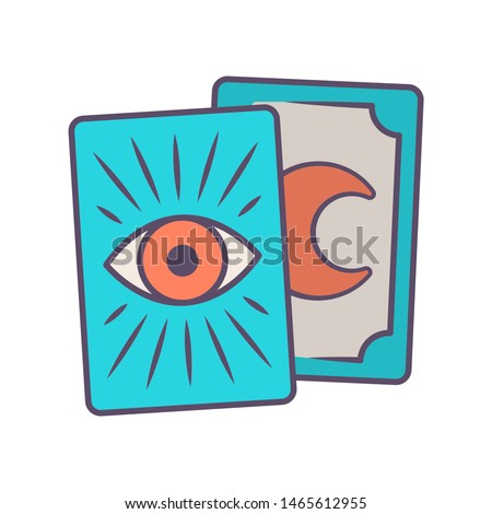 Tarot cards blue color icon. Tarocchi, tarock, oracle playing cards. Fortune telling, divination, cartomancy. Magic and superstition. Occultism, witchcraft magical tool. Isolated vector illustration