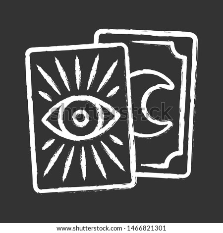 Tarot cards chalk icon. Tarocchi, tarock, oracle playing cards. Fortune telling, divination, cartomancy. Magic, superstition. Occult, witchcraft magical tool. Isolated vector chalkboard illustration