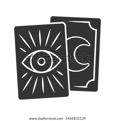 Tarot cards glyph icon. Silhouette symbol. Tarocchi, tarock, oracle playing cards. Fortune telling, divination, cartomancy. Magic and superstition. Negative space. Vector isolated illustration