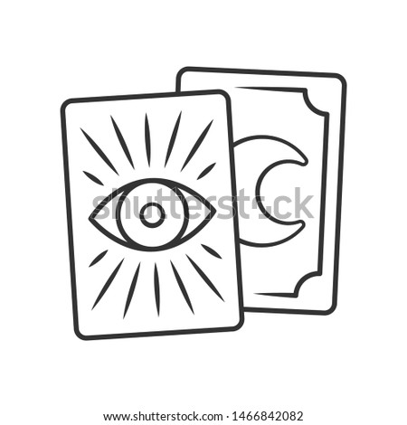 Tarot cards linear icon. Thin line illustration. Tarocchi, tarock, oracle cards. Fortune telling, divination, cartomancy. Magic and superstition. Vector isolated outline drawing. Editable stroke