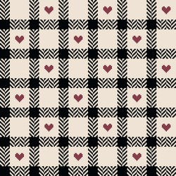 Tartan check pattern herringbone with hearts for Valentine's Day in black, red pink, off white. Seamless vichy check for dress, shirt, other modern spring summer autumn winter fashion textile print.