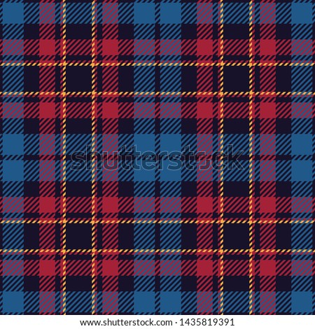 Tartan plaid pattern. Seamless check plaid in blue, red, and yellow for flannel shirt, bag, underwear, pyjamas, or other modern textile print. Hounds tooth texture.
