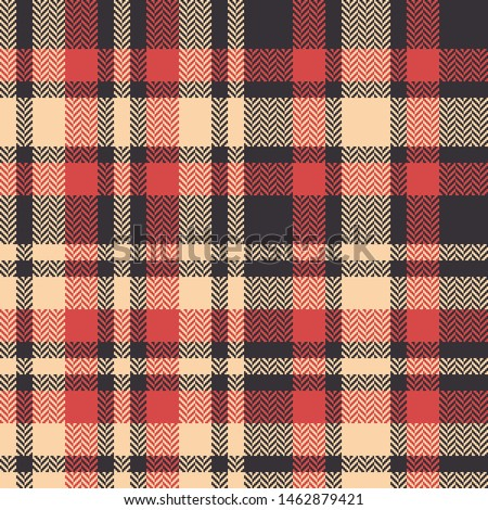 Tartan plaid pattern. Seamless check plaid in dark brown, bright coral, and yellow beige for modern textile design. Herringbone woven pixel texture. Abstract geometric pattern.
