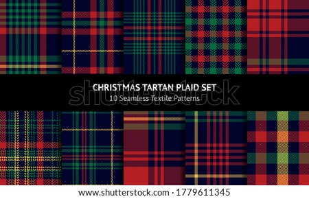Tartan plaid pattern set for Christmas and New Year designs. Dark blue, red, green, yellow check plaid for flannel shirt, skirt, blanket, tablecloth, or other modern festive winter textile print. Foto stock ©