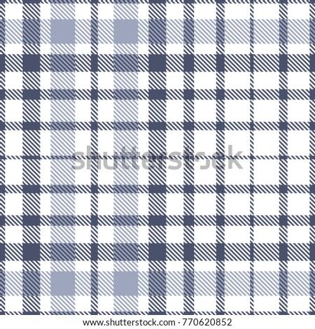 Tartan plaid print. Checkered fabric texture in slate gray, dusty indigo blue and white. Seamless pattern.