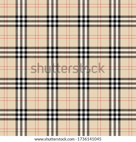 Tartan plaid. Scottish pattern in black, beige and white cage. Scottish cage. Traditional Scottish checkered background. Template for design ornament. Seamless fabric texture. Vector illustration Foto stock ©