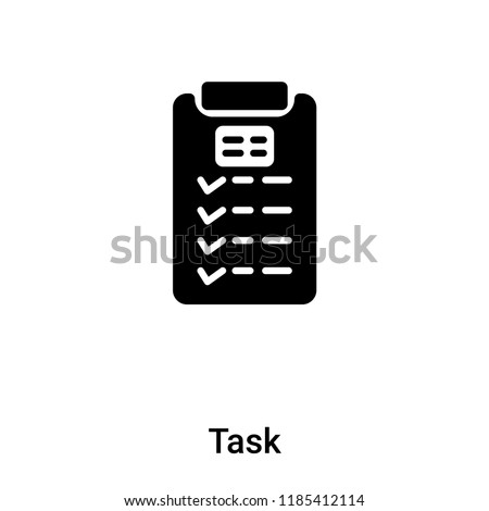 Task icon vector isolated on white background, logo concept of Task sign on transparent background, filled black symbol
