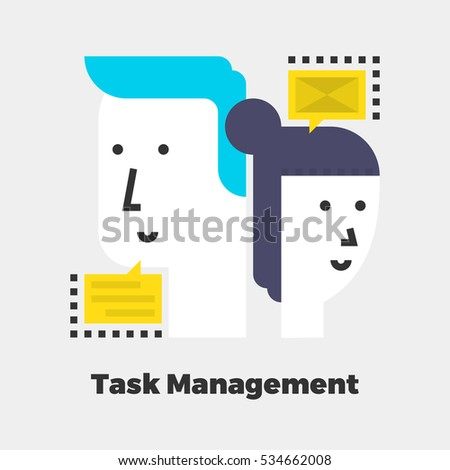 Task Management Icon. Material Design Illustration Concept. Modern Colorful Web Design Graphics. Premium Quality. Pixel Perfect. Bold LineColor Art. Unusual Artwork Isolated on White.