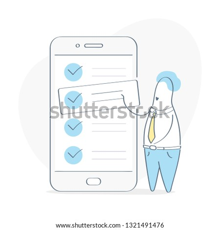 Task management, task prioritization. Project Manager standing near check list on smartphone and planning iterations. Scrum task board full of tasks on sticky note cards. Flat outline vector concept