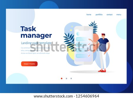 Task manager and to do list application landing page template. Vector illustration.    Man feel in check boxes in to do list. Businessman time management. Characters design