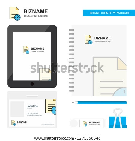 Task on time  Business Logo, Tab App, Diary PVC Employee Card and USB Brand Stationary Package Design Vector Template #1291558546