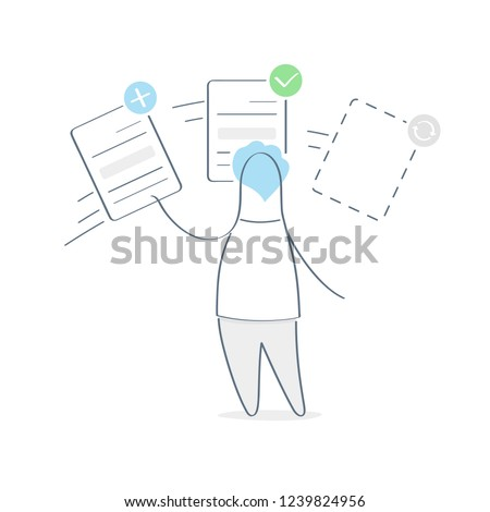 Task performance, online management on the service desk, board. Cute cartoon manager moving file document during work between different statuses - new task, task in progress, task on review