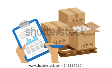 tasks clipboard in hands and crate boxes for quality check, clipboard with checkmark for stock quality report, quality control of cardboard parcel boxes in warehouse factory, packaging cargo isolated