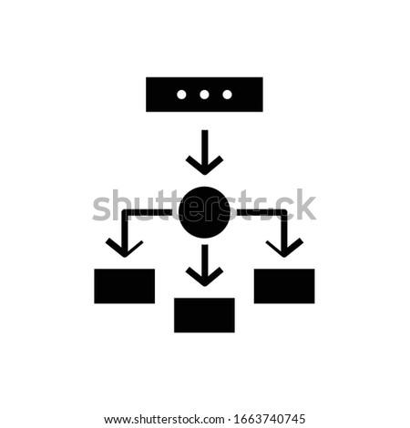 Tasks devision black icon, concept illustration, vector flat symbol, glyph sign. Stock photo ©
