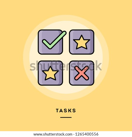 Tasks, flat design thin line banner, usage for e-mail newsletters, web banners, headers, blog posts, print and more. Vector illustration.