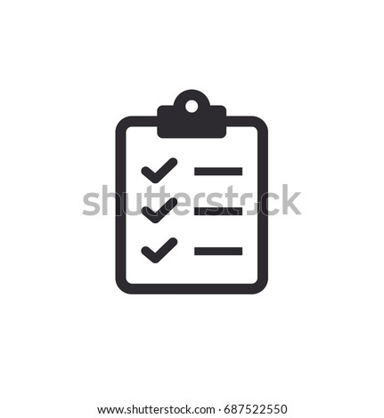 Tasks. Vector icon. Clipboard - vector icon. Clipboard icon. Task done. Signed approved document icon. Project completed. Vector illustration.