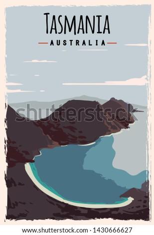 tasmania retro poster tasmania
