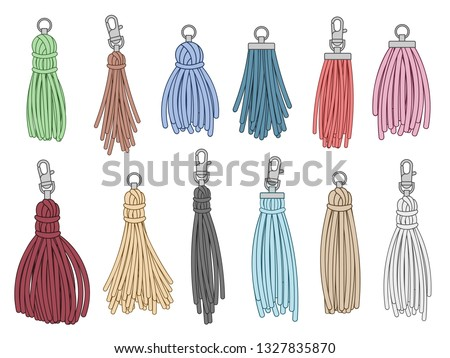 Tassels accessories. Leather fringe tassel trinket, handbag embelishments and fashion key chain. Leather tessels, textile zippers. Isolated vector illustration symbols set
