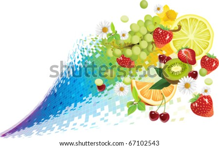 Taste of summer. All elements and textures are individual objects. Vector illustration scale to any size.