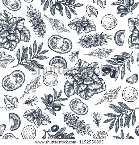 Tasty basil, mozarella, tomato, olive, garlic seamless pattern. Engraved frame illustration. Italian ingredients. Caprese ingredients. Vector illustration
