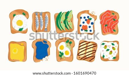 Tasty breakfast. Healthy food concept. Various toasts. Fried and steamed eggs, fish, salmon, avocado slices, sweet berries, butter, jam, chocolate banana, olives, cream cheese. Colored Vector set