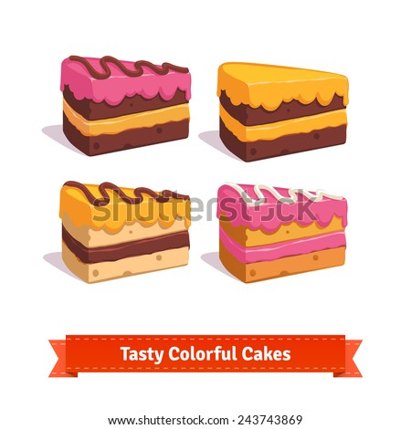 tasty cake slices with frosting