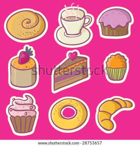 birthday cupcakes cartoon. cakes - cartoon isolated