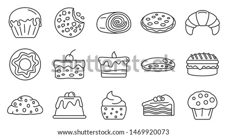 Tasty confectionery icons set. Outline set of tasty confectionery vector icons for web design isolated on white background