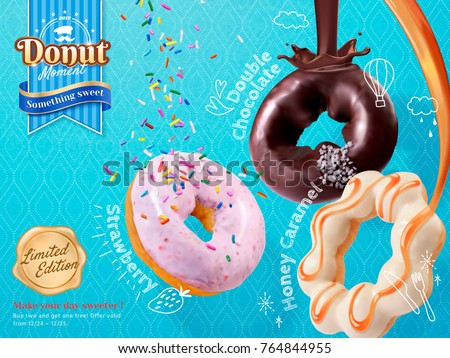 Tasty donut ads, rich toppings and flavor in 3d illustration isolated on blue background, strawberry, chocolate and caramel
